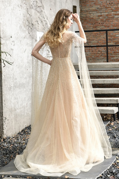 Luxury Shawl Sequined A-line Long Prom Dress_17