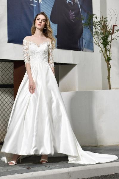 Lace Half Sleeves V Neck Sheer Tulle Wedding Dress_7