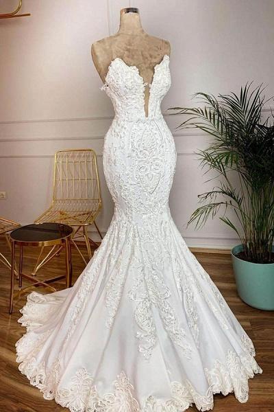 Strapless Appliques Satin Mermaid Wedding Dress_1