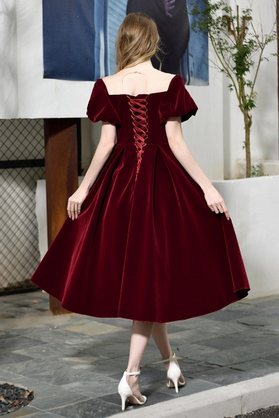 Burgundy Velvet Bubble Sleeve V-neck Short Prom Dress_12
