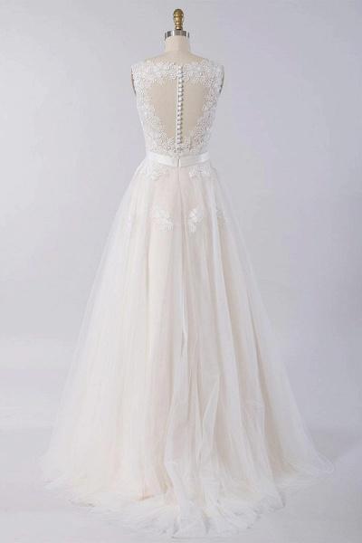 Elegant V-neck A-line Appliques Tulle Wedding Dress_3