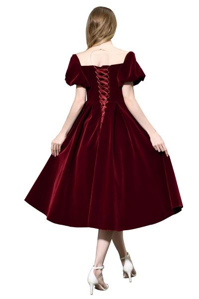 Burgundy Velvet Bubble Sleeve V-neck Short Prom Dress_10