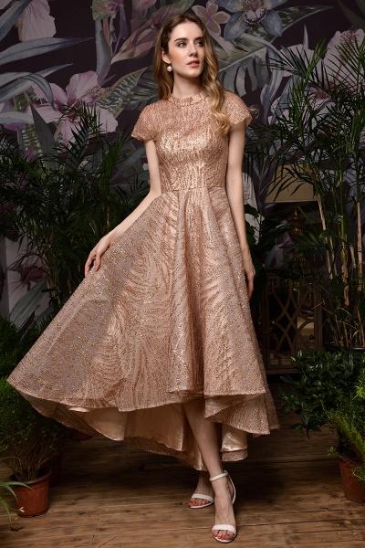 High neck Champange Short Sleeve Sequined Prom Dress_6