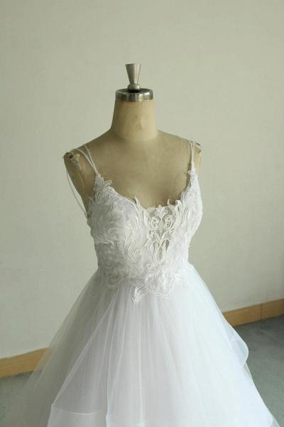 Chic Strap Spaghetti Appliques Tulle Wedding Dress_6