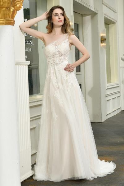 One Shoulder Lace Tulle Backless Wedding Dresses_5