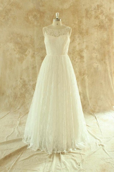 Craceful Lace A-Line Floor Length Wedding Dress_1