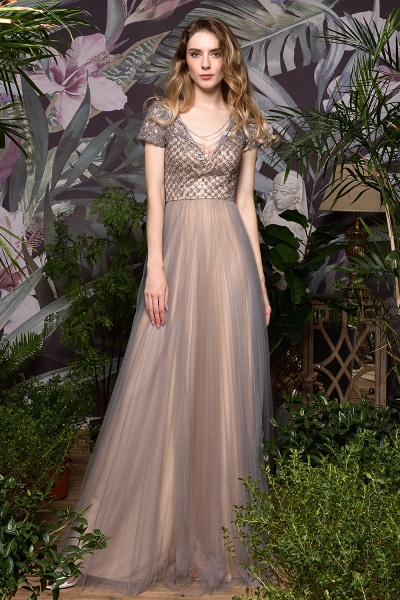 Stunning Short Sleeves Squared Sequined Tulle Prom Dress_7