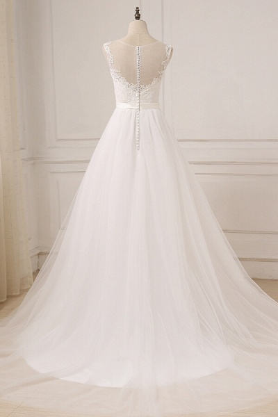 Graceful Lace Tulle A-line Wedding Dress_3