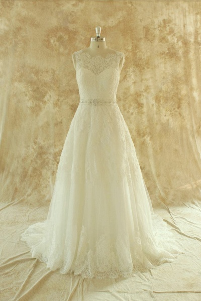 Amazing Illusion Lace Tulle A-line Wedding Dress_1