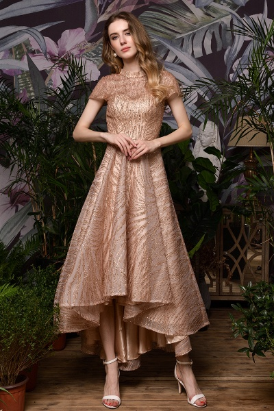 High neck Champange Short Sleeve Sequined Prom Dress_3