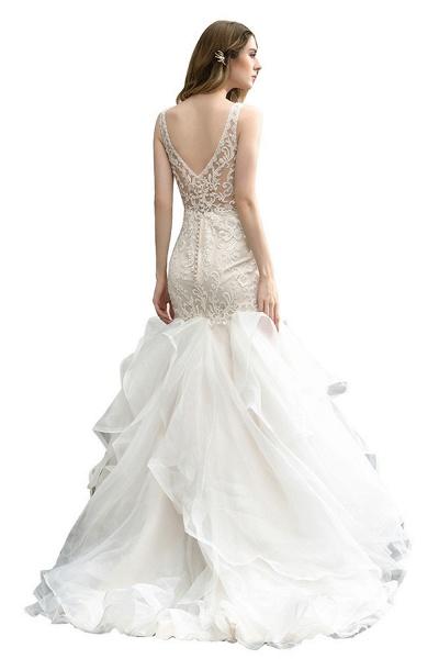 Mermaid V-neck Lace Organza Ruffles Wedding Dress_4
