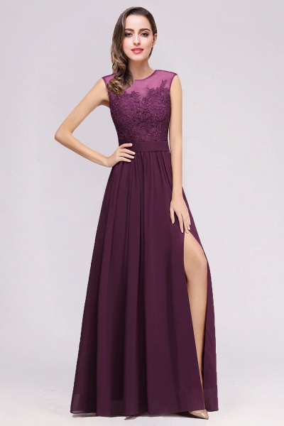 Lace Chiffon Floor-Length A-line Bridesmaid Dress_8