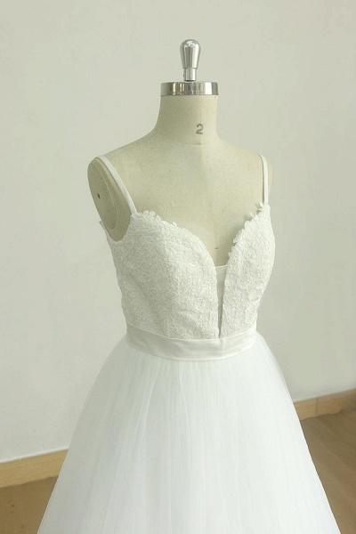 Spaghetti Strap Lace Tulle A-line Wedding Dress_4
