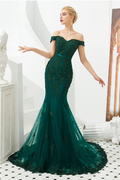 Elegant Off-the-shoulder Tulle Mermaid Prom Dress_2