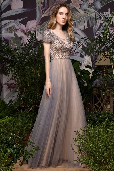 Stunning Short Sleeves Squared Sequined Tulle Prom Dress_2