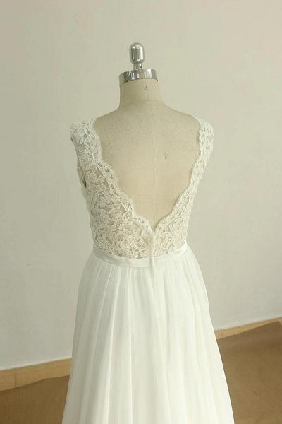Affordable V-neck Lace Chiffon Wedding Dress_5