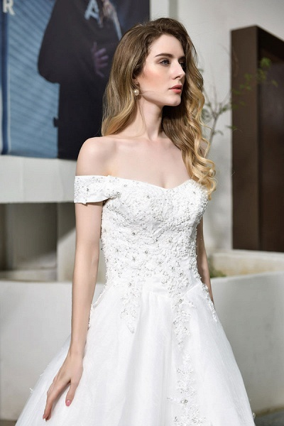 Gorgeous A-Line Lace Off Shoulder Wedding Dress_10