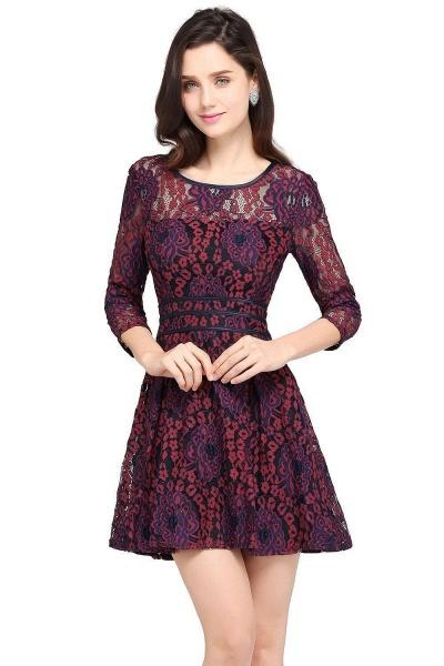 ANNIKA | A-line Scoop Short Lace Cocktail Dresses_1