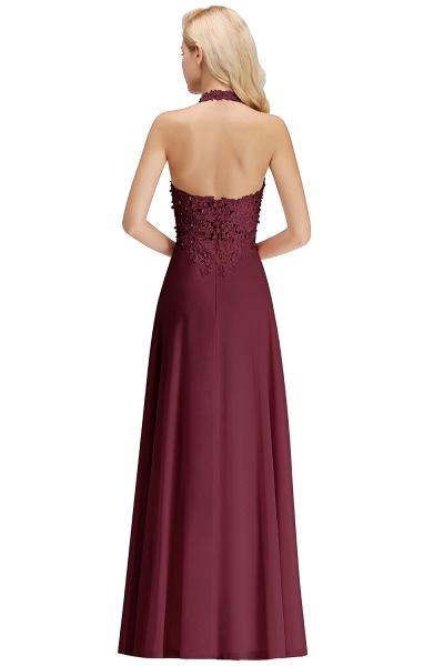 Halter Composite Emulation Silk A-line Floor Length Bridesmaid Dress_32