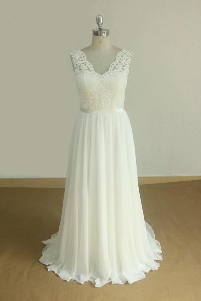 Affordable V-neck Lace Chiffon Wedding Dress_1