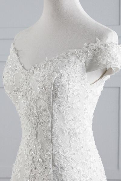 Off Shoulder Lace-up Mermaid Lace Wedding Dress_8