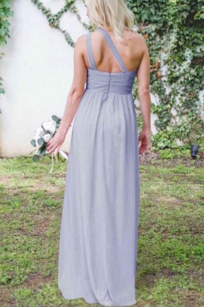 Elegant One Shoulder Ruffle Chiffon Bridesmaid Dress_5