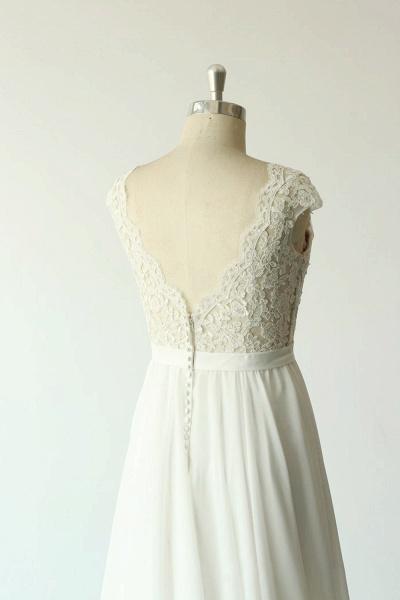 Cap Sleeve Lace Chiffon A-line Wedding Dress_7