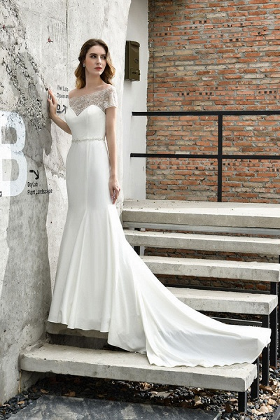 Short Sleeve Mermaid Satin Lace Wedding Dress_8