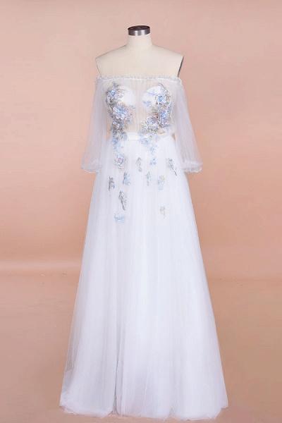 Off-the-Shoulder Appliques Tulle Wedding Dress_1