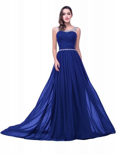 Precious Jewel Chiffon A-line Evening Dress_4