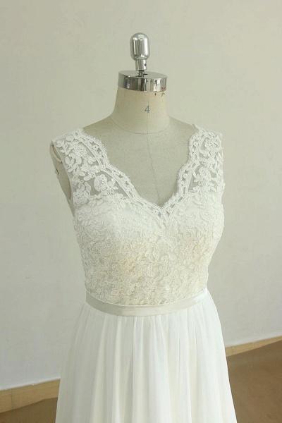 Affordable V-neck Lace Chiffon Wedding Dress_4