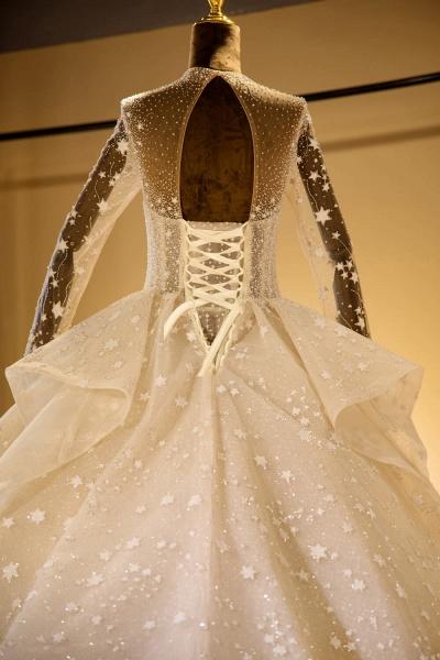 Long Sleeve Beading Lace-up Tulle Wedding Dress_6