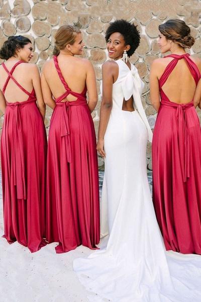 Convertible Open Back Floor Length Bridesmaid Dress_3