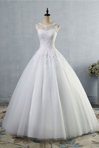 Illusion Appliques Tulle A-line Wedding Dress_1