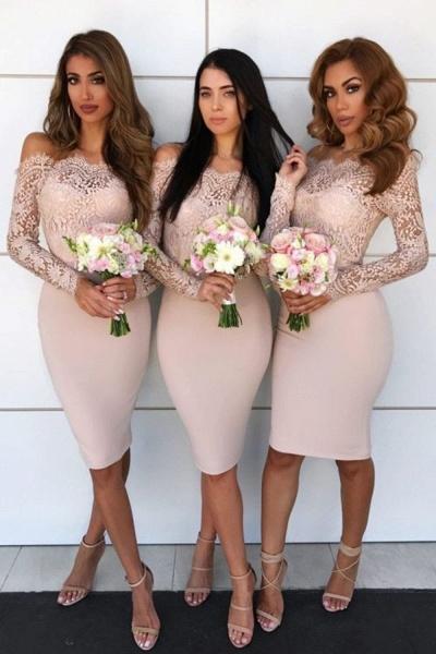 Long Sleeve Off Shoulder Lace Mini Bridesmaid Dress_3