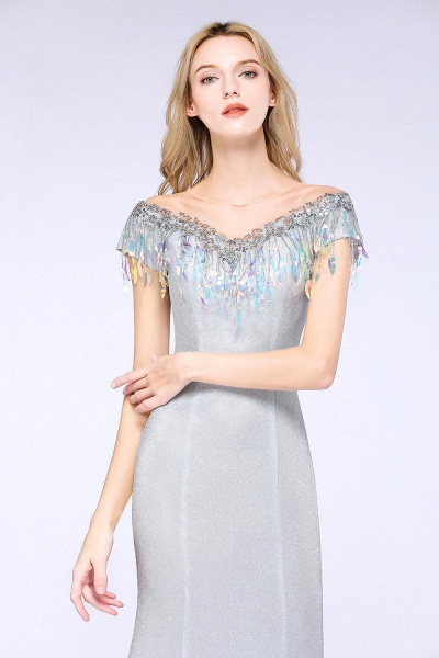 Elegant Jewel Short Sleeves Sequins Evening Dress with Tassels_3