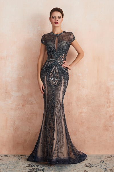 Marvelous Jewel Tulle Mermaid Prom Dress_3
