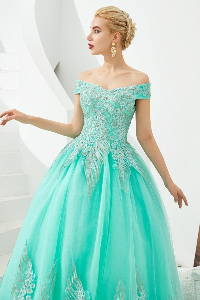 Beautiful Off-the-shoulder Tulle Ball Gown Prom Dress_15