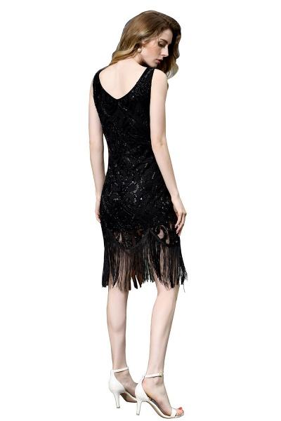 Chic Fringed Sequins V-neck Knee Length Prom Dress_13