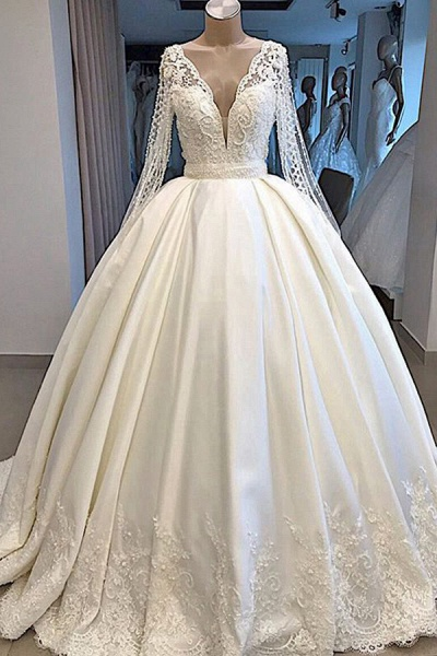 Long Sleeve V-neck Ball Gown Satin Wedding Dress_1