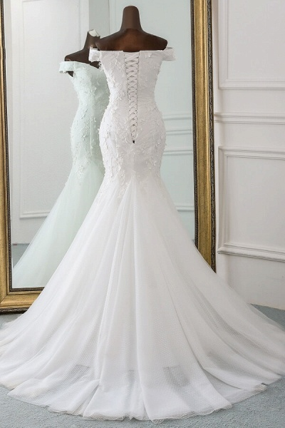 Off Shoulder Lace-up Applique Mermaid Wedding Dress_3