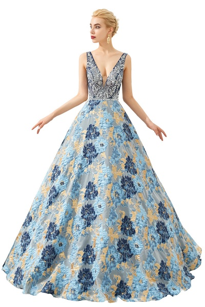 Beautiful V-neck Satin A-line Prom Dress_1