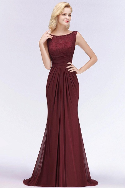 Mermaid Burgundy Chiffon Ruffles Evening Dress_2