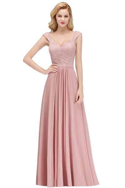 MARIA | A-line Long V-neck Sleeveless Lace Top Chiffon Bridesmaid Dresses_1