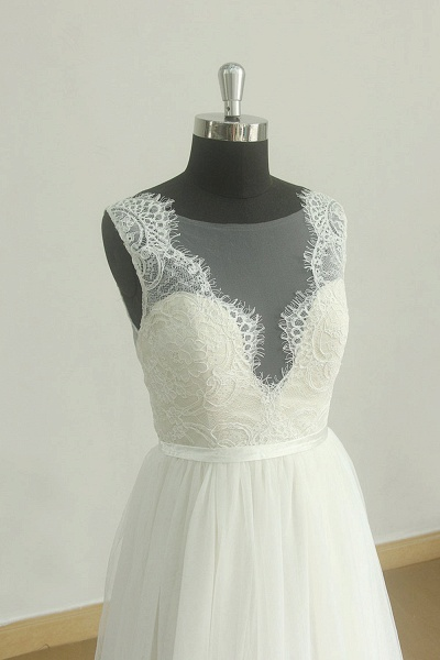 Chic Lace Tulle A-line Floor Length Wedding Dress_2