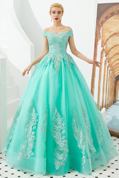 Beautiful Off-the-shoulder Tulle Ball Gown Prom Dress_10