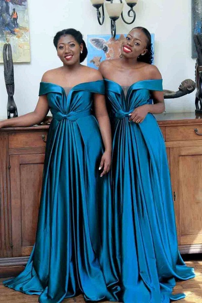 Eye-catching Off Shoulder A-line Bridesmaid Dress_1
