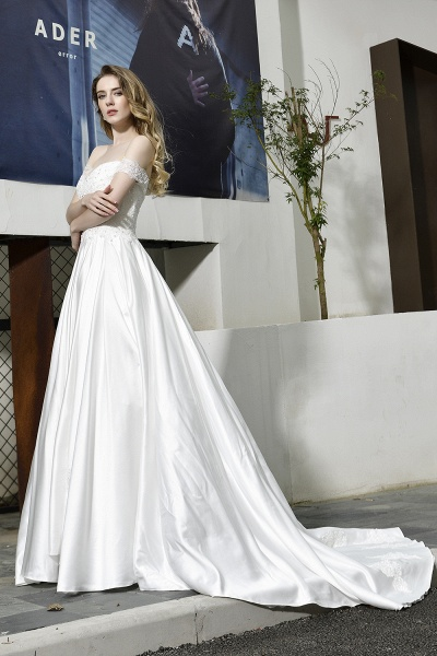 A Line Off the Shoulder Sweetheart Lace Satin Wedding Dress_7