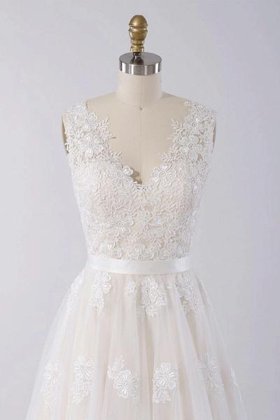Elegant V-neck A-line Appliques Tulle Wedding Dress_4