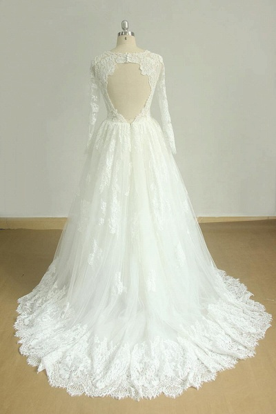 Back Cut-out Long Sleeve Tulle A-line Wedding Dress_3